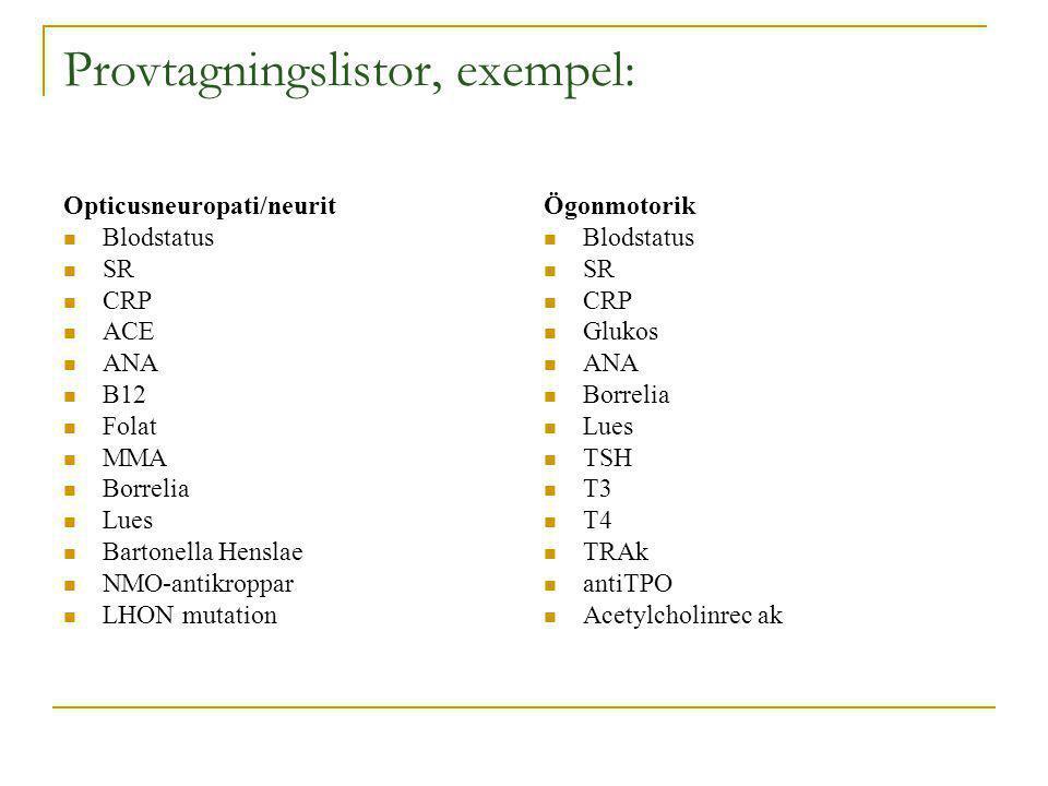 Provtagningslistor, exempel: Opticusneuropati/neurit Blodstatus SR CRP ACE ANA B12 Folat MMA Borrelia Lues Bartonella Henslae NMO-antikroppar LHON mut