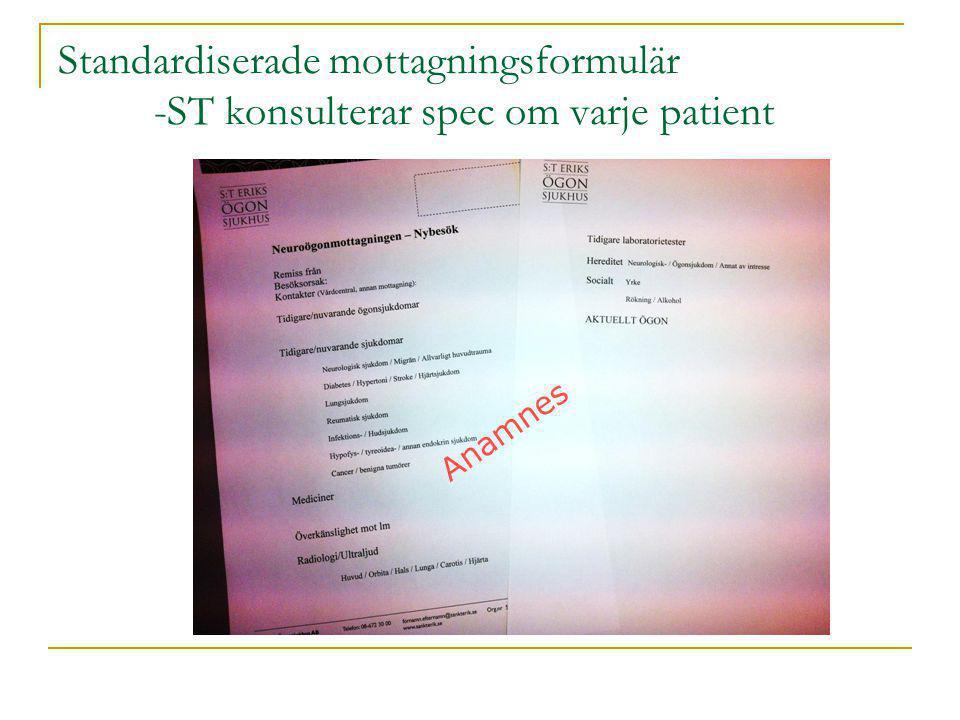 Standardiserade mottagningsformulär -ST konsulterar spec om varje patient Standardiserade besöksformulär Anamnes