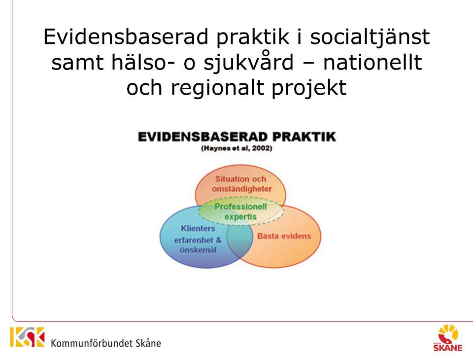 Evidensbaserad praktik i socialtjänst samt hälso- o sjukvård – nationellt och regionalt projekt