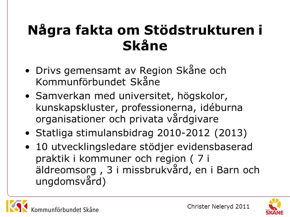 Några fakta om Stödstrukturen i Skåne Drivs gemensamt av Region Skåne och Kommunförbundet Skåne Samverkan med universitet, högskolor, kunskapskluster, professionerna, idéburna organisationer och privata vårdgivare Statliga stimulansbidrag 2010-2012 (2013) 10 utvecklingsledare stödjer evidensbaserad praktik i kommuner och region ( 7 i äldreomsorg, 3 i missbrukvård, en i Barn och ungdomsvård) Christer Neleryd 2011