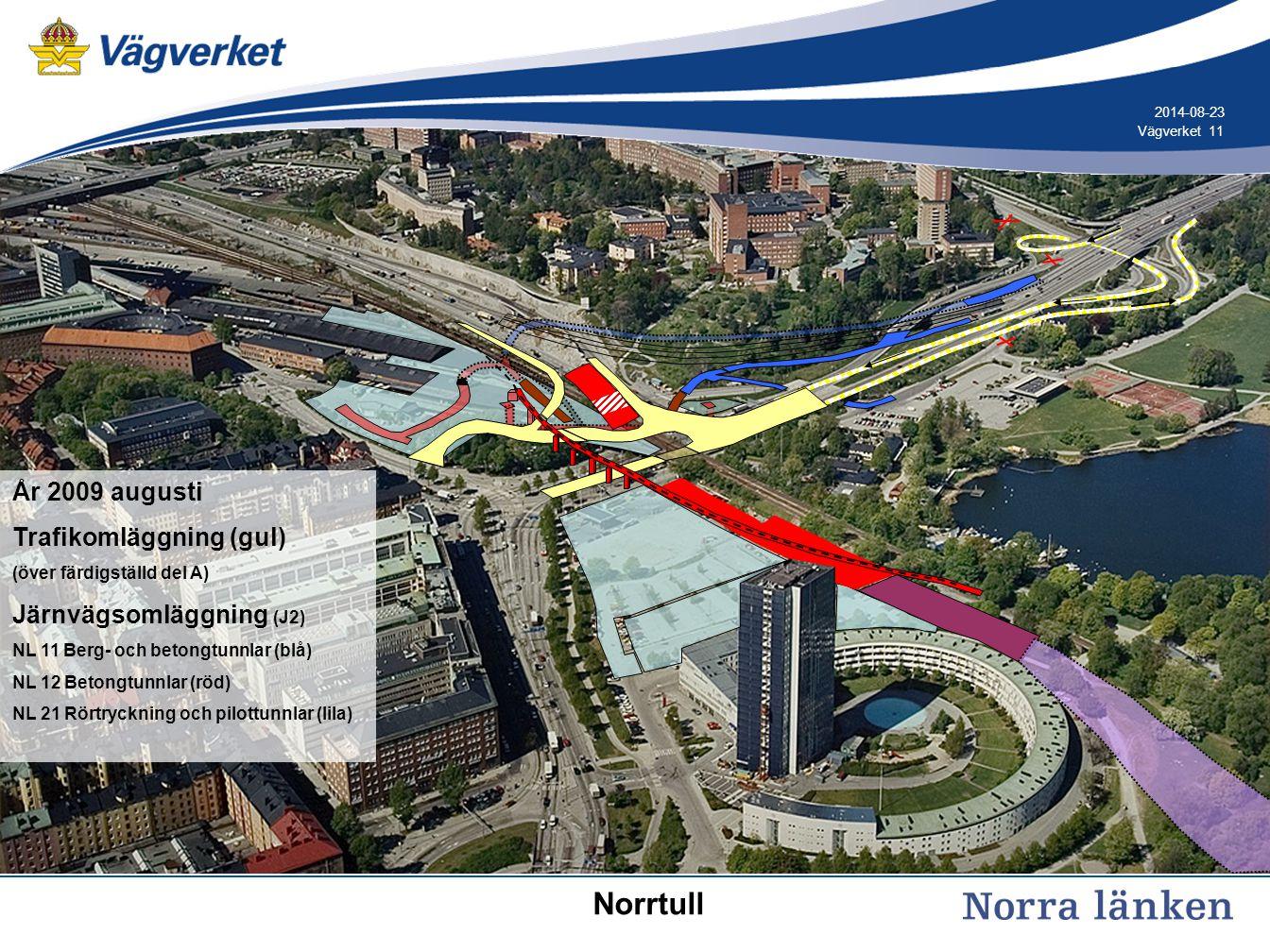 11 Vägverket 2014-08-23 År 2009 augusti Trafikomläggning (gul) (över färdigställd del A) Järnvägsomläggning (J2) NL 11 Berg- och betongtunnlar (blå) N