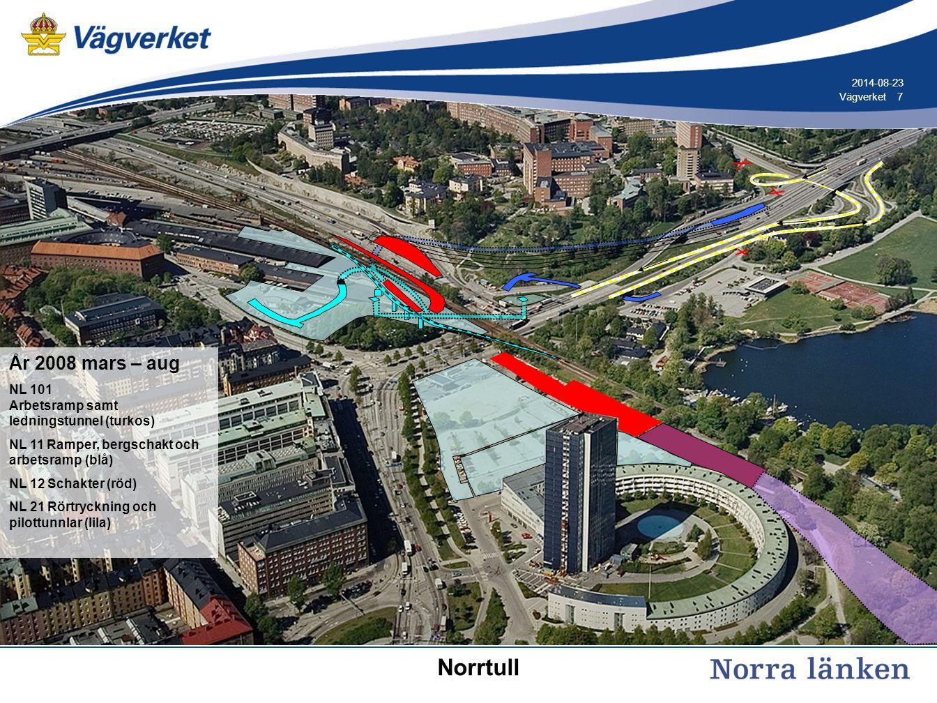 8 8Vägverket 2014-08-23 År 2008 aug Trafikomläggning (gul) NL 101 Arbetsramp samt ledningstunnel klar (turkos) NL 11 Berg- och betongtunnlar (blå) NL 12 Schakter (röd) NL 21 Rörtryckning och pilottunnlar (lila) Norrtull