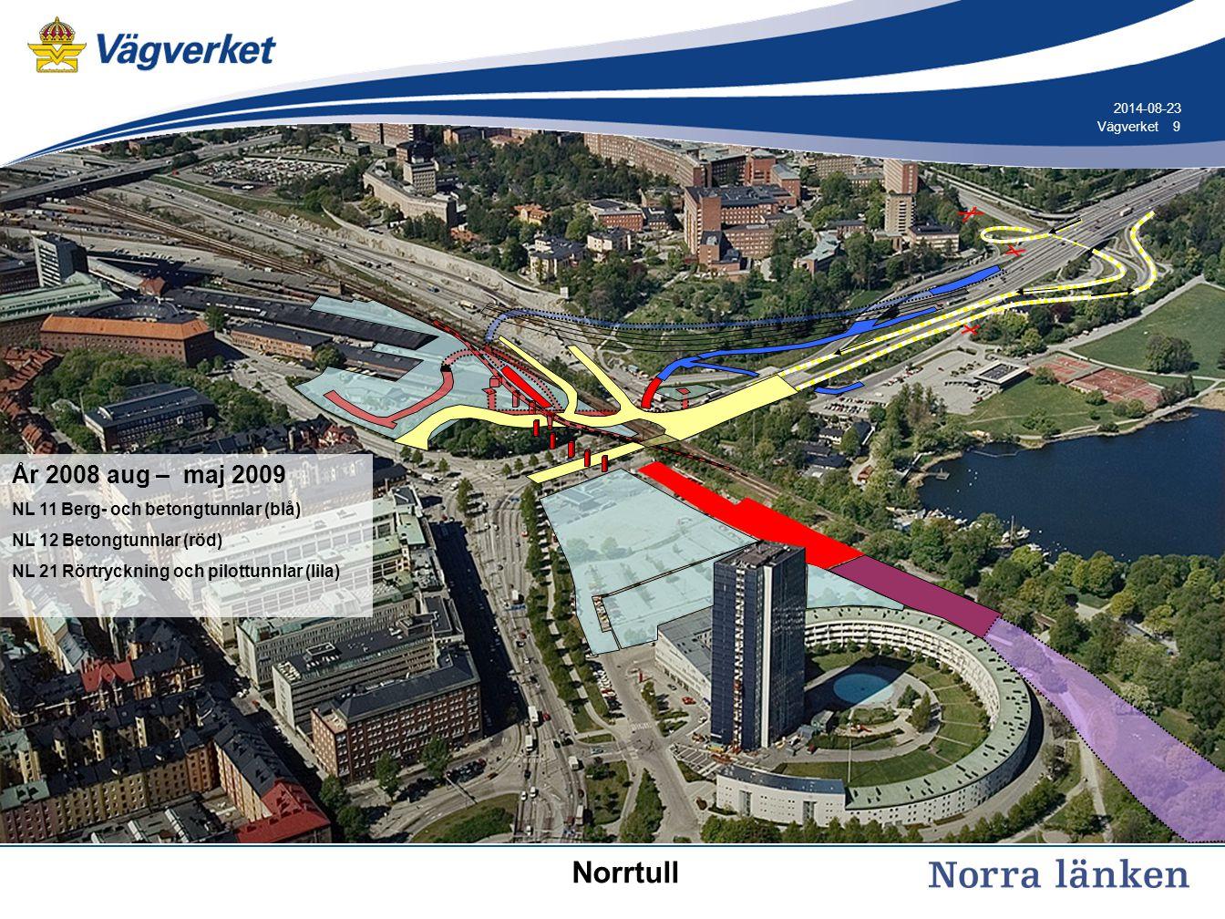 9 9Vägverket 2014-08-23 År 2008 aug – maj 2009 NL 11 Berg- och betongtunnlar (blå) NL 12 Betongtunnlar (röd) NL 21 Rörtryckning och pilottunnlar (lila