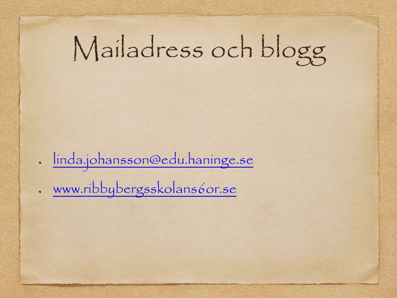 Mailadress och blogg linda.johansson@edu.haninge.se www.ribbybergsskolans6or.se