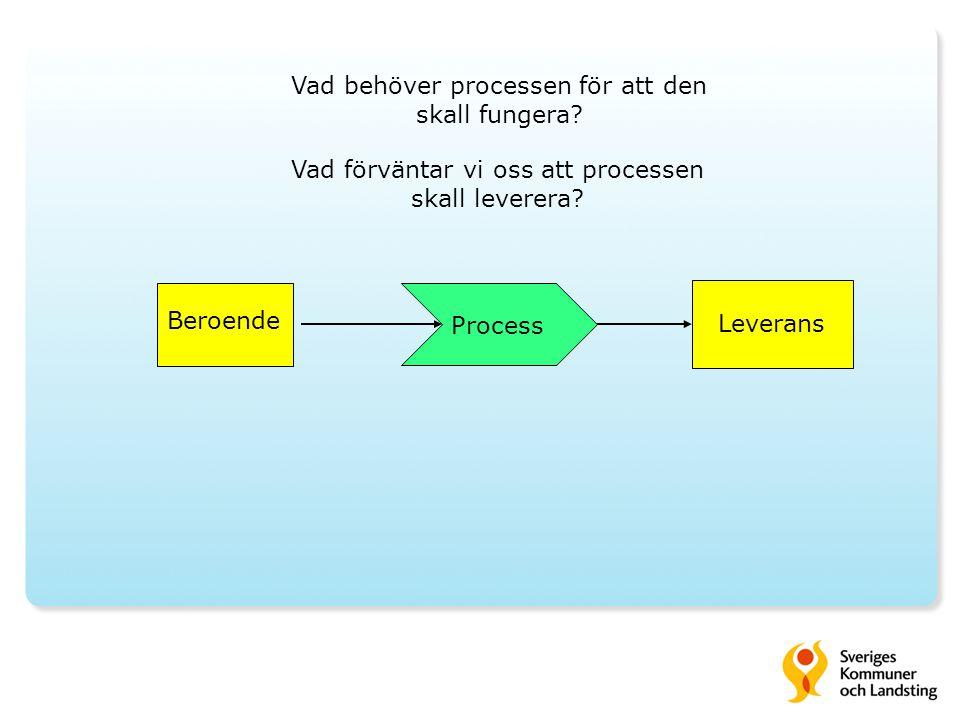 Vad behöver processen för att den skall fungera.