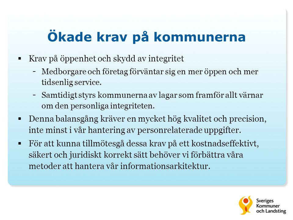 Ökade krav på kommunerna  Krav på öppenhet och skydd av integritet - Medborgare och företag förväntar sig en mer öppen och mer tidsenlig service.