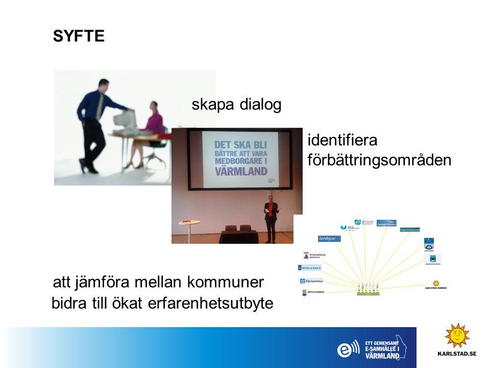 SYFTE skapa dialog identifiera förbättringsområden att jämföra mellan kommuner bidra till ökat erfarenhetsutbyte