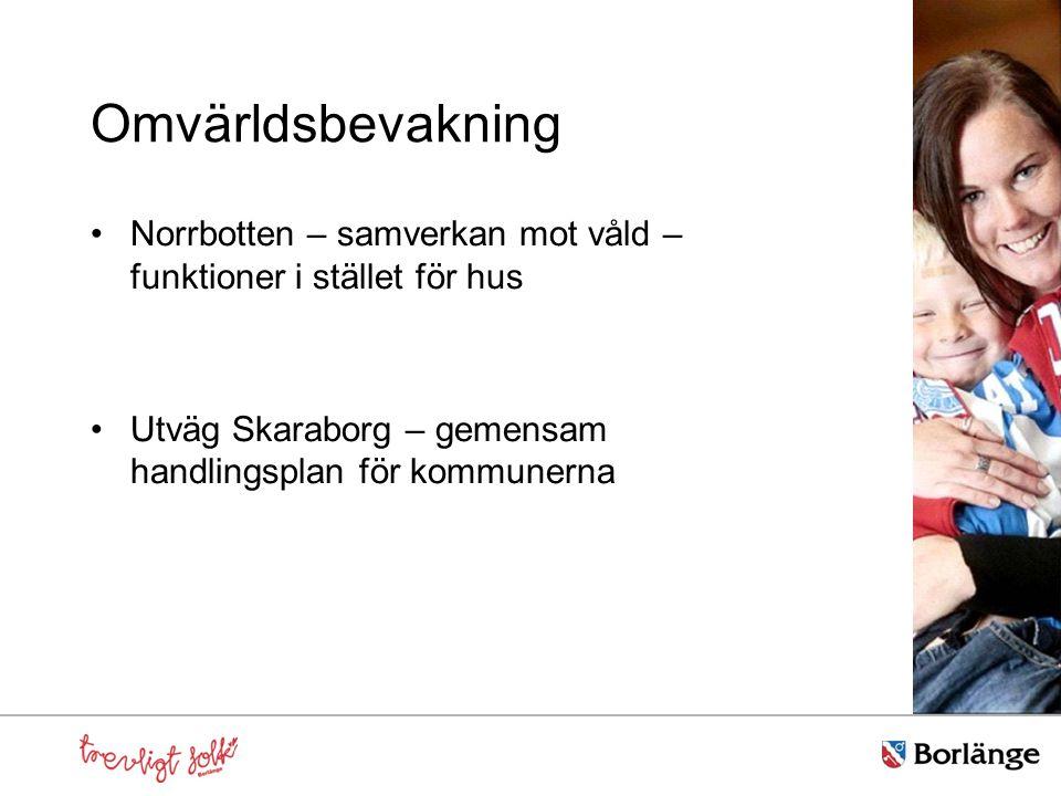 Omvärldsbevakning Norrbotten – samverkan mot våld – funktioner i stället för hus Utväg Skaraborg – gemensam handlingsplan för kommunerna