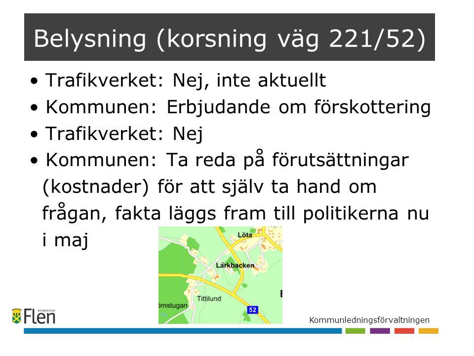 Kommunledningsförvaltningen Belysning (korsning väg 221/52) Trafikverket: Nej, inte aktuellt Kommunen: Erbjudande om förskottering Trafikverket: Nej K