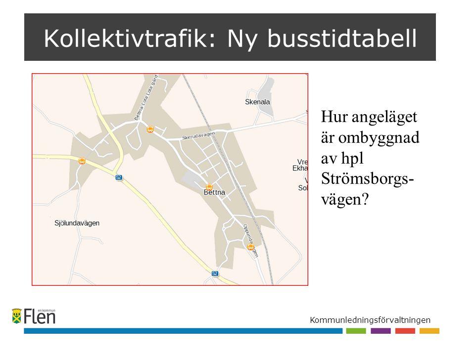 Kommunledningsförvaltningen Kollektivtrafik: Ny busstidtabell Hur angeläget är ombyggnad av hpl Strömsborgs- vägen?