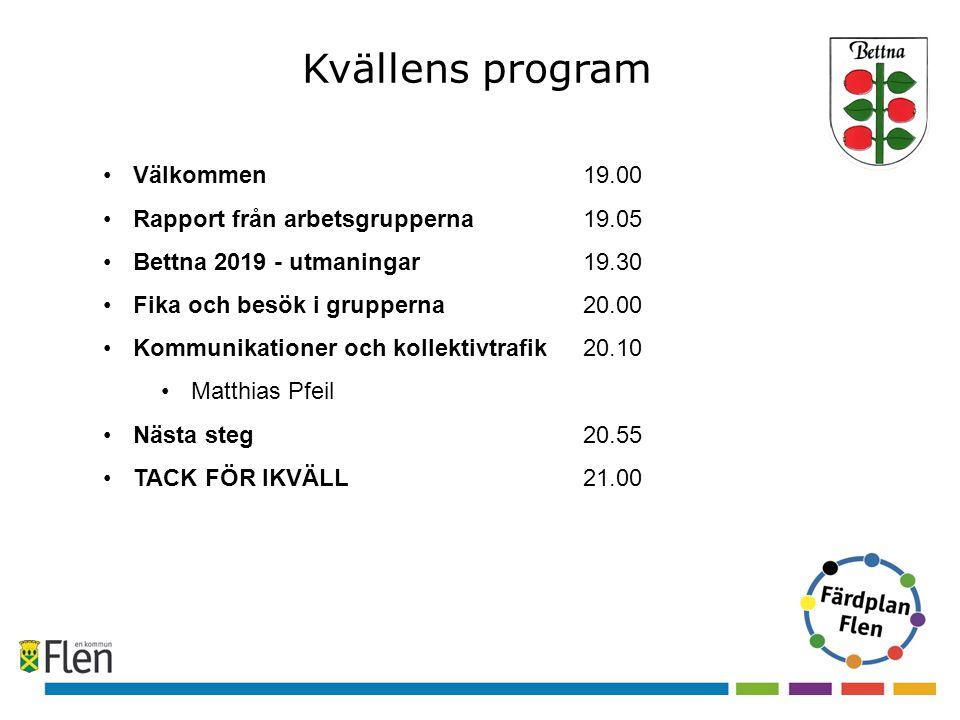 Kvällens program Välkommen 19.00 Rapport från arbetsgrupperna 19.05 Bettna 2019 - utmaningar19.30 Fika och besök i grupperna20.00 Kommunikationer och kollektivtrafik20.10 Matthias Pfeil Nästa steg20.55 TACK FÖR IKVÄLL21.00
