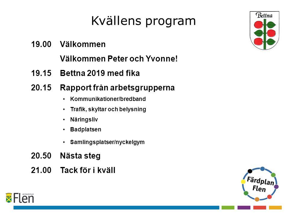 Kvällens program 19.00 Välkommen Välkommen Peter och Yvonne.