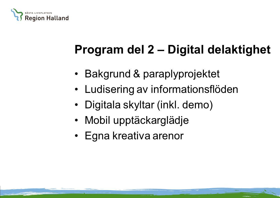 Program del 2 – Digital delaktighet Bakgrund & paraplyprojektet Ludisering av informationsflöden Digitala skyltar (inkl. demo) Mobil upptäckarglädje E