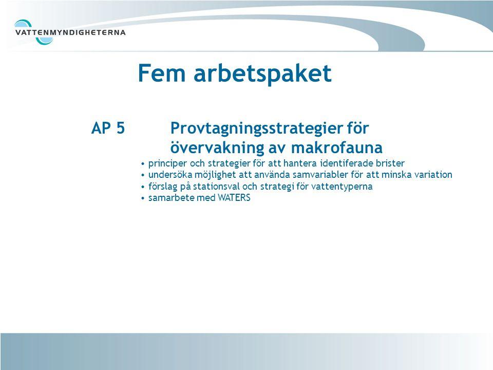 Fem arbetspaket AP 5 Provtagningsstrategier för övervakning av makrofauna principer och strategier för att hantera identiferade brister undersöka möjlighet att använda samvariabler för att minska variation förslag på stationsval och strategi för vattentyperna samarbete med WATERS