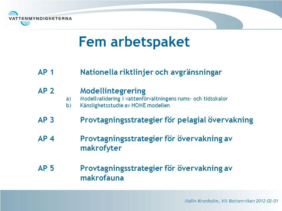 Fem arbetspaket AP 1 Nationella riktlinjer och avgränsningar AP 2 Modellintegrering a)Modellvalidering i vattenförvaltningens rums- och tidsskalor b)Känslighetsstudie av HOME modellen AP 3Provtagningsstrategier för pelagial övervakning AP 4Provtagningsstrategier för övervakning av makrofyter AP 5Provtagningsstrategier för övervakning av makrofauna Malin Kronholm, VM Bottenviken 2012-02-01
