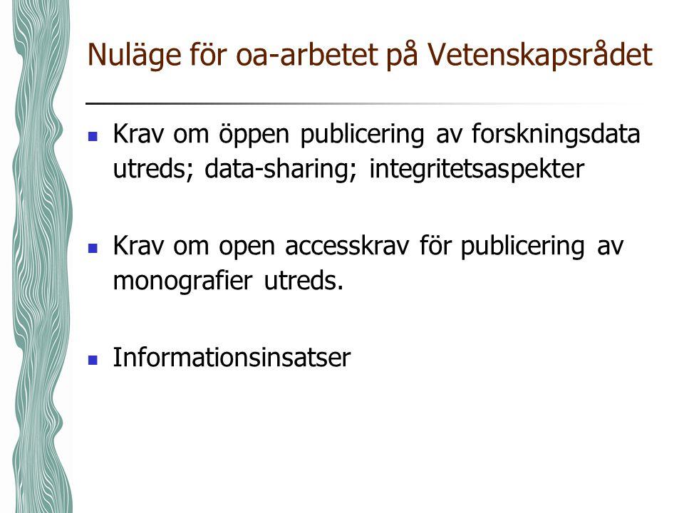 Nuläge för oa-arbetet på Vetenskapsrådet Krav om öppen publicering av forskningsdata utreds; data-sharing; integritetsaspekter Krav om open accesskrav för publicering av monografier utreds.