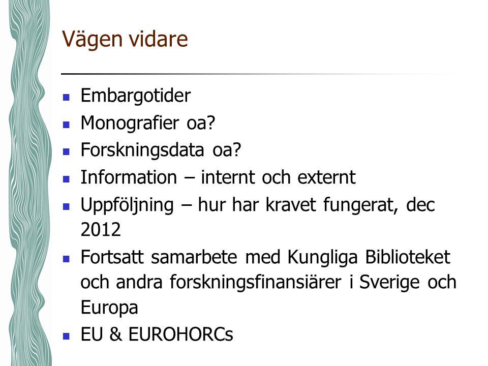 Vägen vidare Embargotider Monografier oa. Forskningsdata oa.