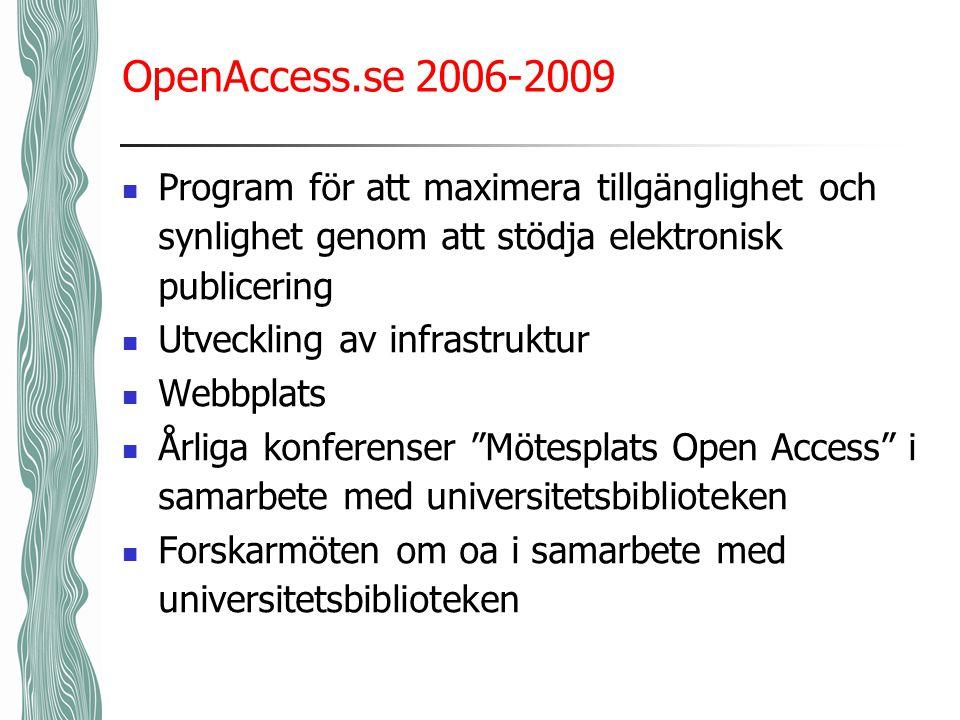 OpenAccess.se 2006-2009 Program för att maximera tillgänglighet och synlighet genom att stödja elektronisk publicering Utveckling av infrastruktur Webbplats Årliga konferenser Mötesplats Open Access i samarbete med universitetsbiblioteken Forskarmöten om oa i samarbete med universitetsbiblioteken