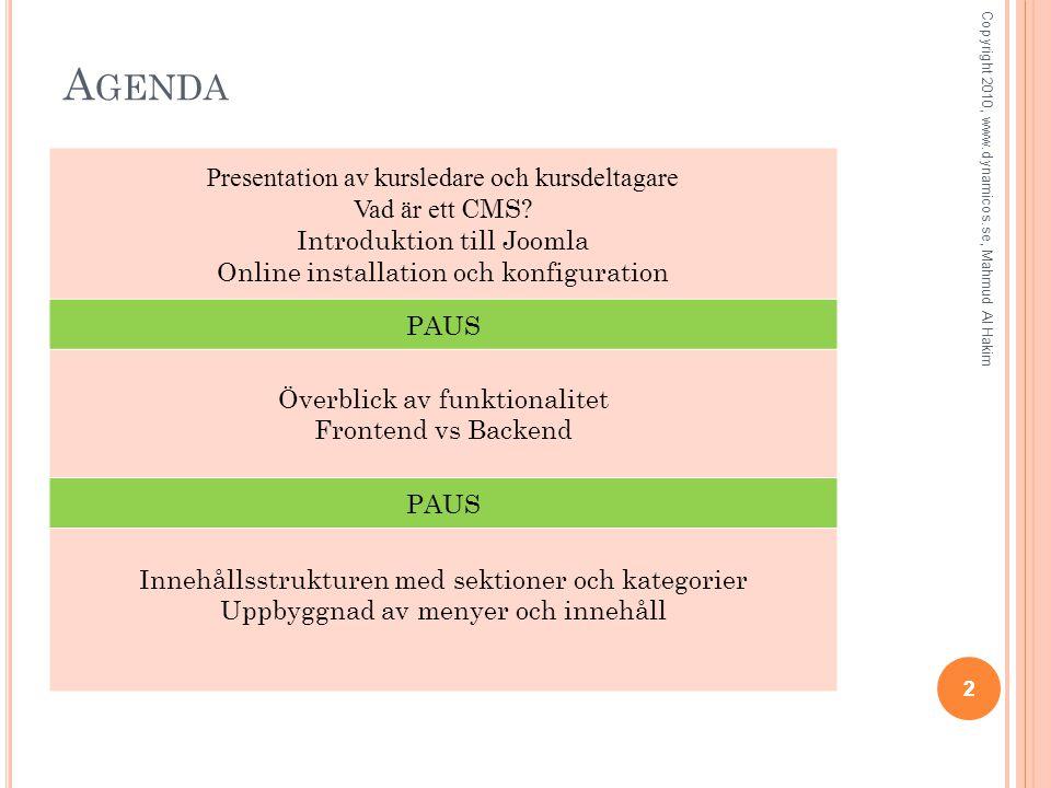 A GENDA 22 Copyright 2010, www.dynamicos.se, Mahmud Al Hakim Presentation av kursledare och kursdeltagare Vad är ett CMS.