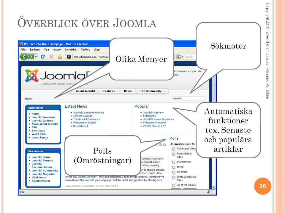 Ö VERBLICK ÖVER J OOMLA 20 Copyright 2010, www.dynamicos.se, Mahmud Al Hakim Olika Menyer Sökmotor Automatiska funktioner tex.