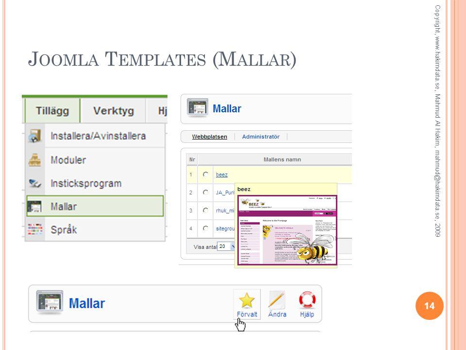J OOMLA T EMPLATES (M ALLAR ) Copyright, www.hakimdata.se, Mahmud Al Hakim, mahmud@hakimdata.se, 2009 14