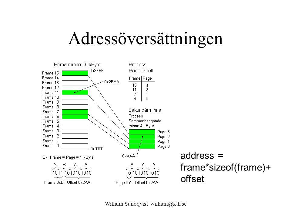 William Sandqvist william@kth.se Adressöversättningen address = frame*sizeof(frame)+ offset