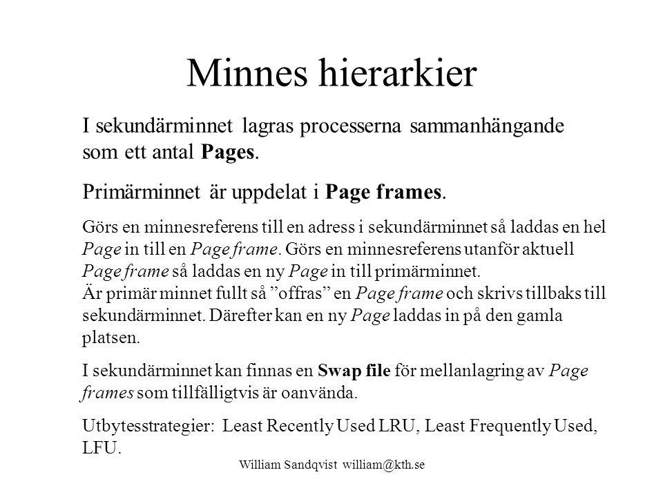 William Sandqvist william@kth.se Minnes hierarkier I sekundärminnet lagras processerna sammanhängande som ett antal Pages. Primärminnet är uppdelat i
