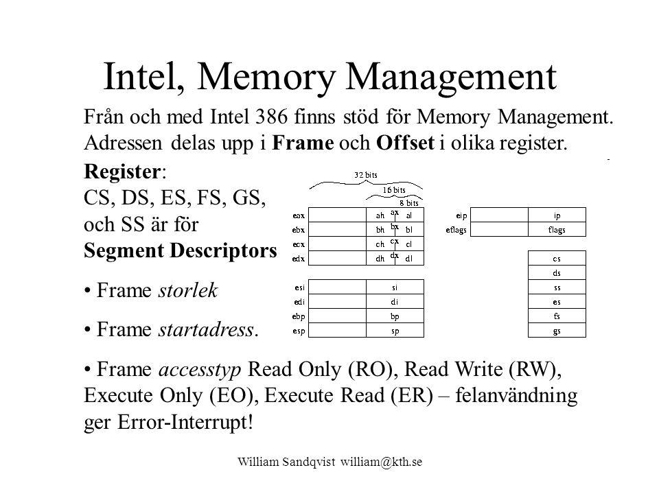 William Sandqvist william@kth.se Intel, Memory Management Från och med Intel 386 finns stöd för Memory Management. Adressen delas upp i Frame och Offs