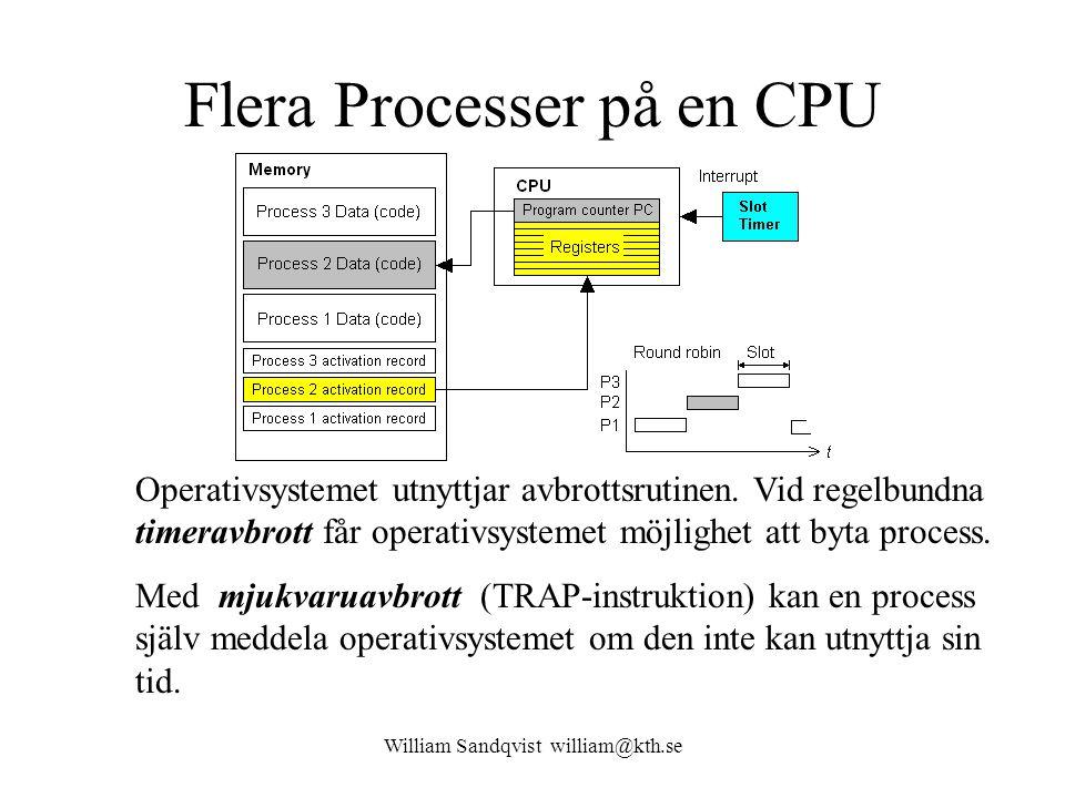 William Sandqvist william@kth.se Flera Processer på en CPU Operativsystemet utnyttjar avbrottsrutinen. Vid regelbundna timeravbrott får operativsystem