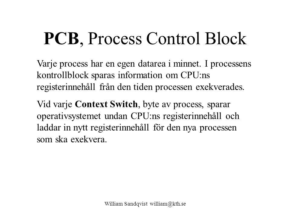 William Sandqvist william@kth.se PCB, Process Control Block Varje process har en egen datarea i minnet. I processens kontrollblock sparas information