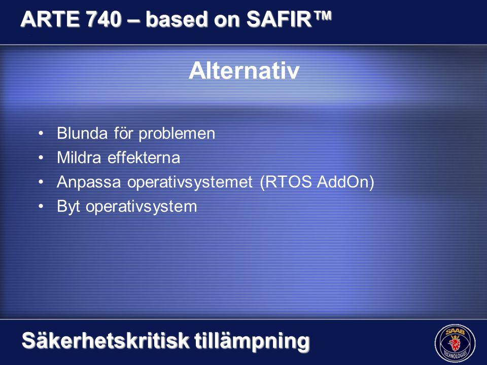 Alternativ Blunda för problemen Mildra effekterna Anpassa operativsystemet (RTOS AddOn) Byt operativsystem ARTE 740 – based on SAFIR™ Säkerhetskritisk tillämpning