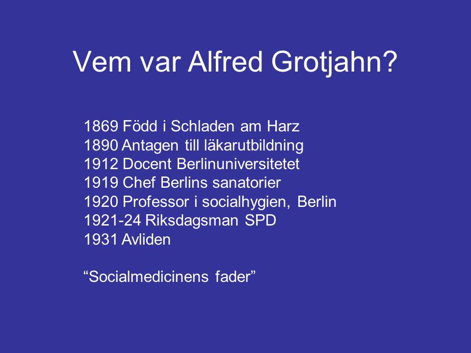 Vem var Alfred Grotjahn? 1869 Född i Schladen am Harz 1890 Antagen till läkarutbildning 1912 Docent Berlinuniversitetet 1919 Chef Berlins sanatorier 1