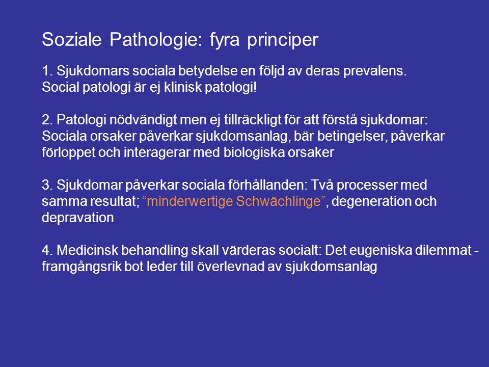 Soziale Pathologie: fyra principer 1. Sjukdomars sociala betydelse en följd av deras prevalens. Social patologi är ej klinisk patologi! 2. Patologi nö