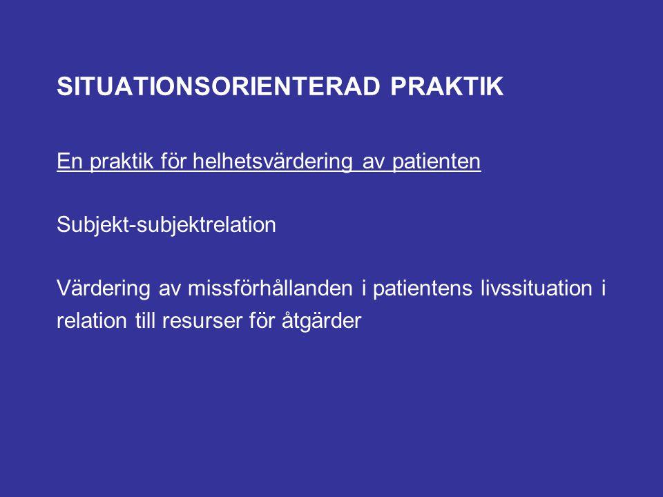 SITUATIONSORIENTERAD PRAKTIK En praktik för helhetsvärdering av patienten Subjekt-subjektrelation Värdering av missförhållanden i patientens livssitua