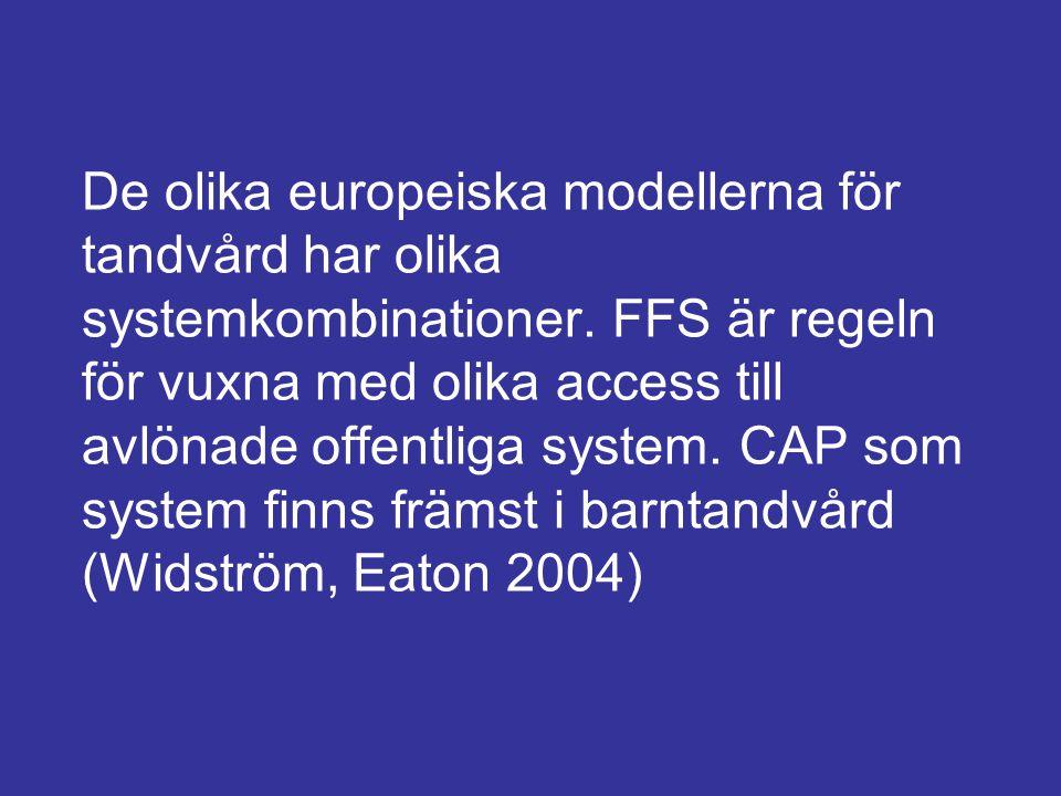 De olika europeiska modellerna för tandvård har olika systemkombinationer. FFS är regeln för vuxna med olika access till avlönade offentliga system. C