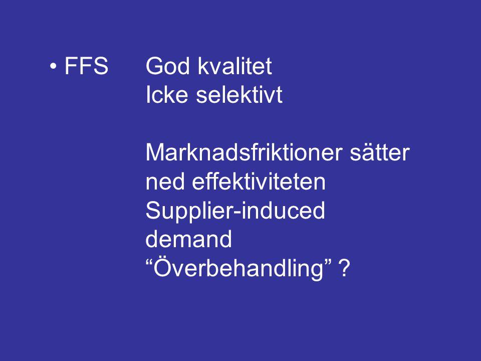 """FFSGod kvalitet Icke selektivt Marknadsfriktioner sätter ned effektiviteten Supplier-induced demand """"Överbehandling"""" ?"""