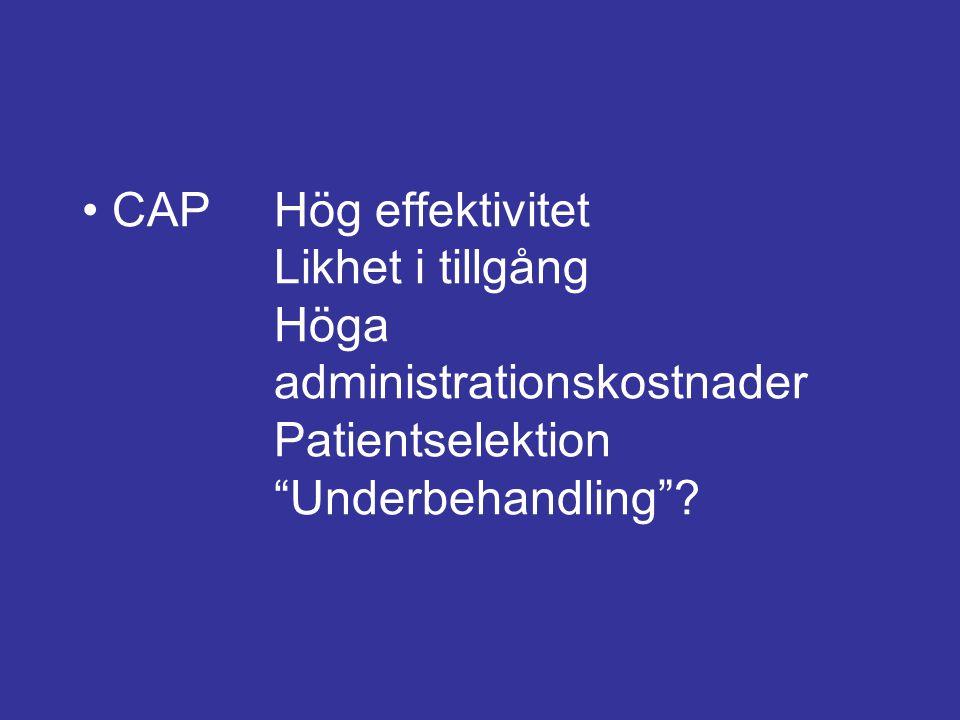 """CAPHög effektivitet Likhet i tillgång Höga administrationskostnader Patientselektion """"Underbehandling""""?"""
