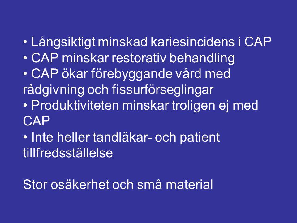 Långsiktigt minskad kariesincidens i CAP CAP minskar restorativ behandling CAP ökar förebyggande vård med rådgivning och fissurförseglingar Produktivi