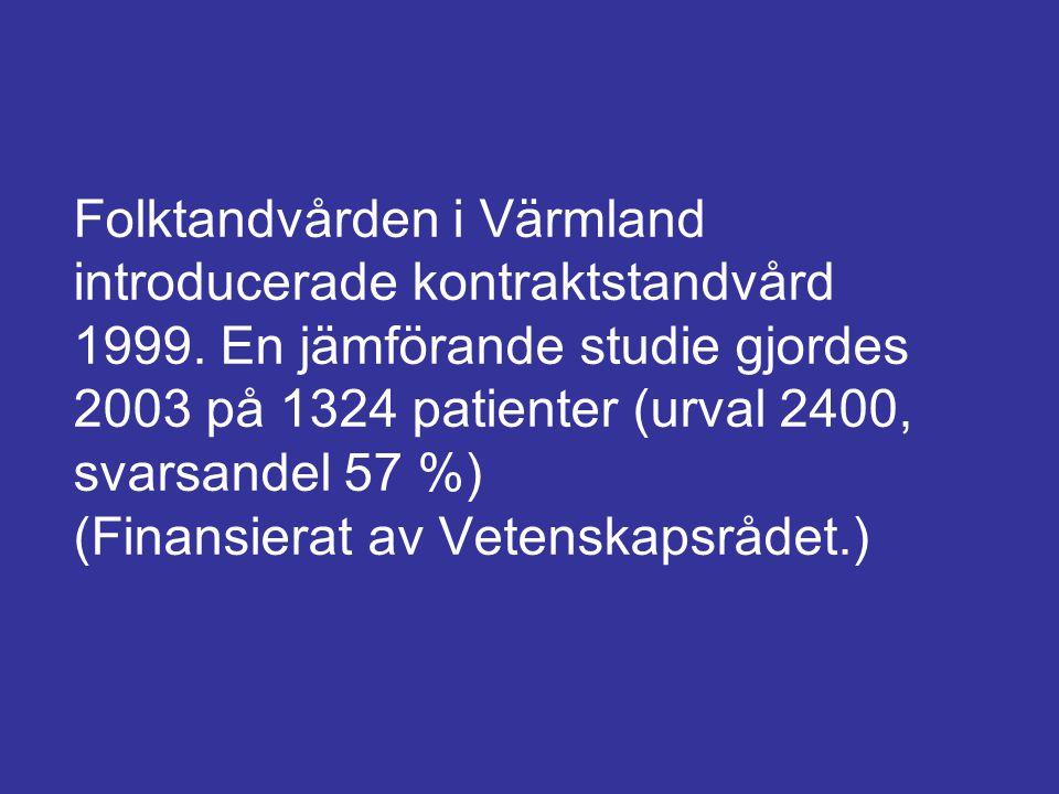 Folktandvården i Värmland introducerade kontraktstandvård 1999. En jämförande studie gjordes 2003 på 1324 patienter (urval 2400, svarsandel 57 %) (Fin