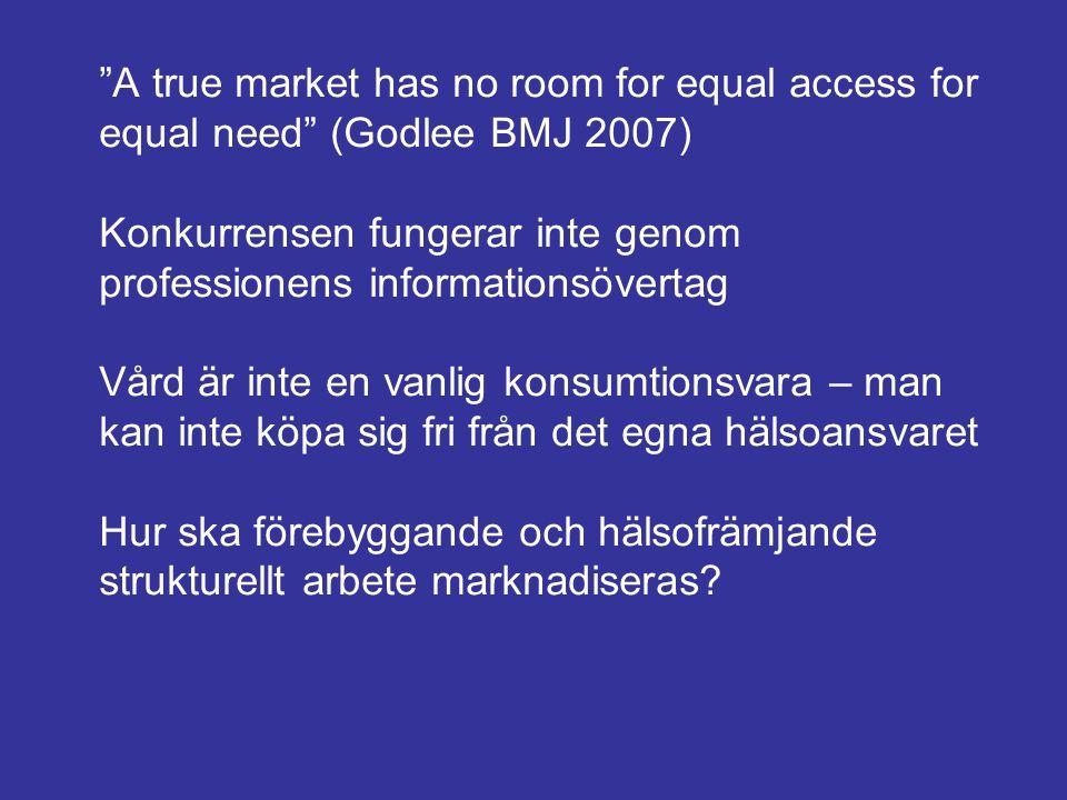 """""""A true market has no room for equal access for equal need"""" (Godlee BMJ 2007) Konkurrensen fungerar inte genom professionens informationsövertag Vård"""