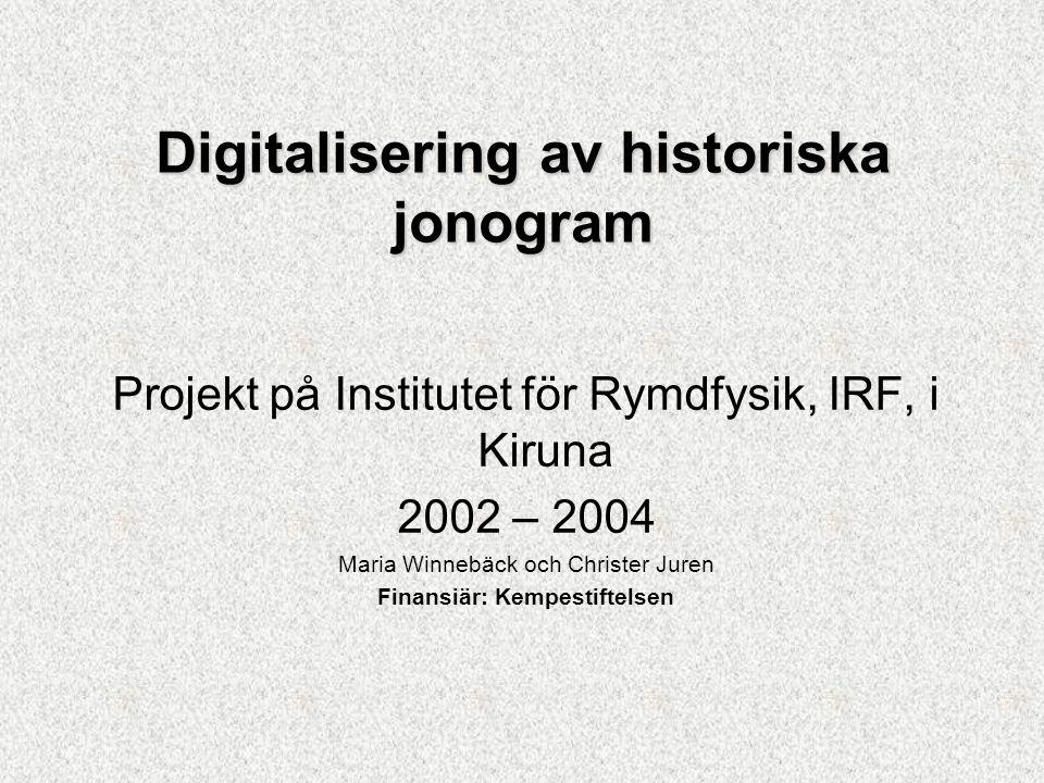 Hur mycket som är digitaliserat Kiruna ca 20 år, 16 mm film Lycksele ca 23 år, mest pappersjonogram, men även 16 mm film Uppsala ca 15 år, 35 mm film Digitalisering av historiska jonogram