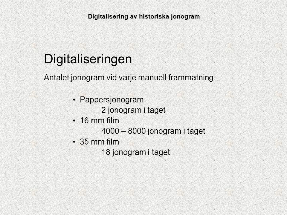 Digitaliseringen Antalet jonogram vid varje manuell frammatning Pappersjonogram 2 jonogram i taget 16 mm film 4000 – 8000 jonogram i taget 35 mm film