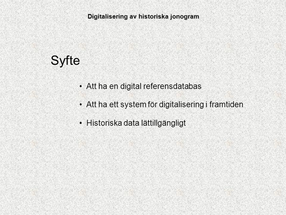 Digitalisering av historiska jonogram Syfte Att ha en digital referensdatabas Att ha ett system för digitalisering i framtiden Historiska data lättill
