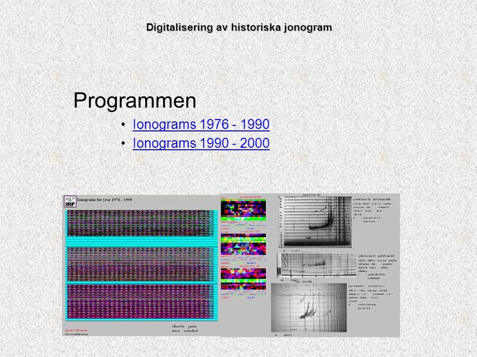 Programmen Ionograms 1976 - 1990 Ionograms 1990 - 2000 Digitalisering av historiska jonogram