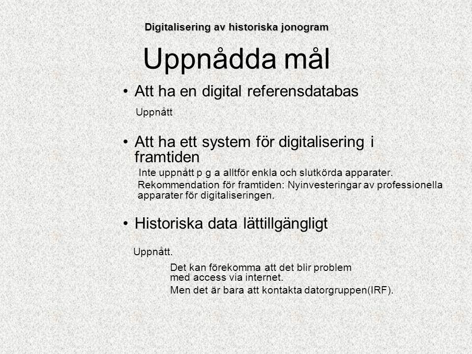 Uppnådda mål Att ha en digital referensdatabas Uppnått Att ha ett system för digitalisering i framtiden Inte uppnått p g a alltför enkla och slutkörda