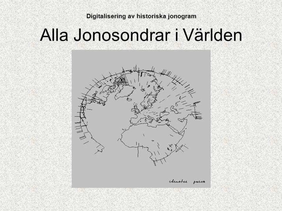Mängden data som finns i arkiven Tre stationer i Sverige; Kiruna, Lycksele och Uppsala Ett jonogram per timme från varje station sedan 1954 Extraregistreringar vid kampanjer Digitalisering av historiska jonogram