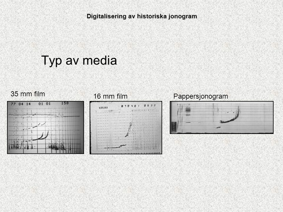 Förberedelser Byggt utrustning för pappersjonogrammen Byggt utrustning för 35 mm filmerna Modifierat en projektor för 16 mm filmerna Skrivit program i java för att bearbeta bilderna Digitalisering av historiska jonogram