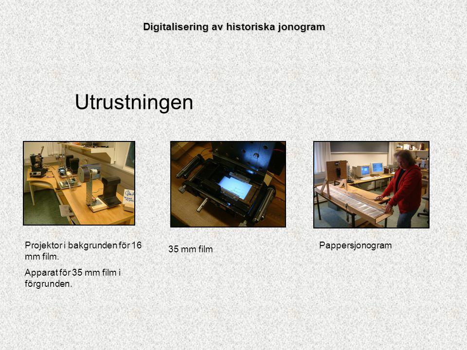Utrustningen Projektor i bakgrunden för 16 mm film. Apparat för 35 mm film i förgrunden. 35 mm film Pappersjonogram Digitalisering av historiska jonog