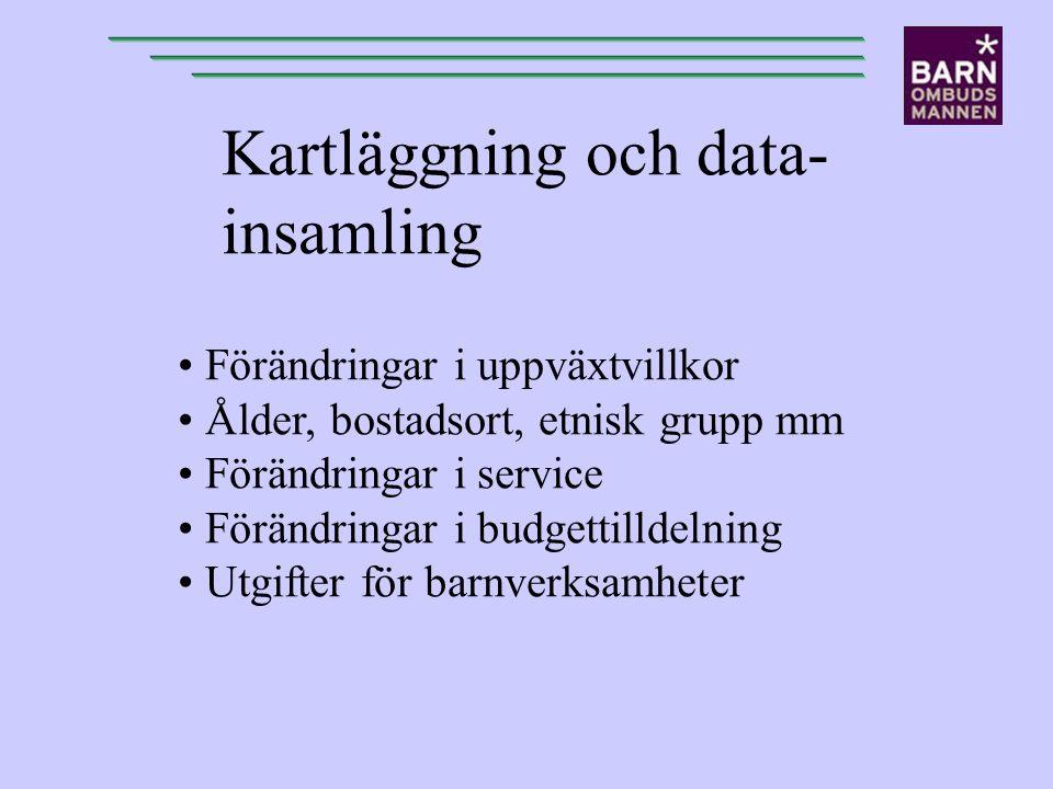 Kartläggning och data- insamling Förändringar i uppväxtvillkor Ålder, bostadsort, etnisk grupp mm Förändringar i service Förändringar i budgettilldeln