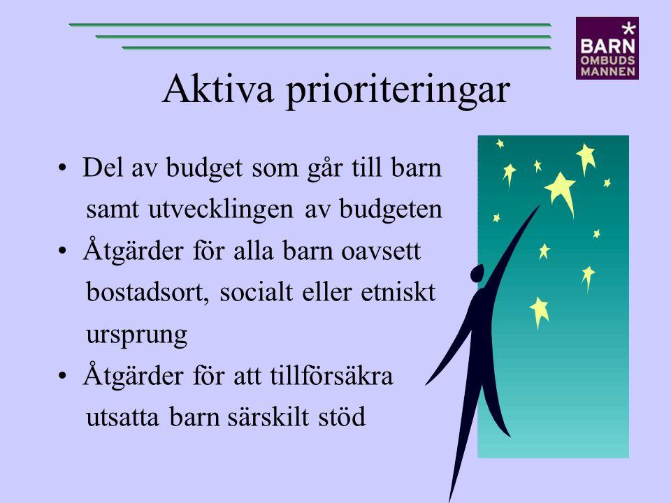 Aktiva prioriteringar Del av budget som går till barn samt utvecklingen av budgeten Åtgärder för alla barn oavsett bostadsort, socialt eller etniskt u